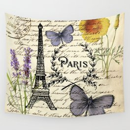 french botanical print purple butterfly lavender floral paris eiffel tower Wall Tapestry