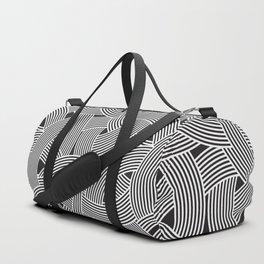 Modern Scandinavian B&W Black and White Curve Graphic Memphis Milan Inspired Duffle Bag