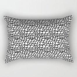 Black and White Elephant Animal Hide Skin Print Rectangular Pillow