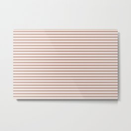 Sherwin Williams Cavern Clay Horizontal Line Pattern on White 2 Metal Print