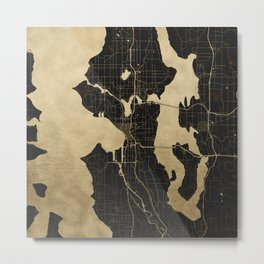 Seattle Black and Gold Map Metal Print