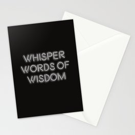 Whisper words of wisdom neon sign Stationery Cards