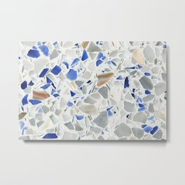 Blue Terrazzo Metal Print