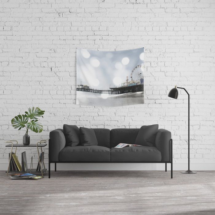 Sparkling grey Santa Monica Pier Wall Tapestry by Christine aka stine1
