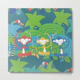 Monkeys Meditating in the Jungle Seamless Pattern Metal Print