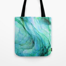 Sea Green Flowing Waves Abstract Ink Painting Tote Bag