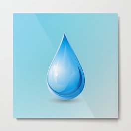 Drop on blue background, world water day Metal Print