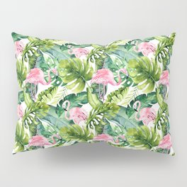 Pink green watercolor flamingo tropical monster leaves Pillow Sham