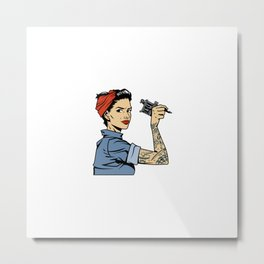 Vintage Colorful Mechanic Girl With Tattoo Arm Holding Wrench Metal Print