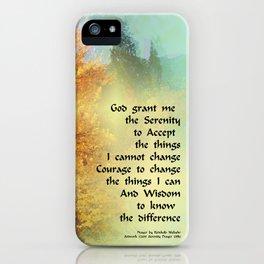Serenity Prayer Autumn Trees on Green iPhone Case