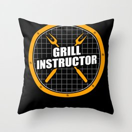Grill Instructor | Grilling BBQ Barbecue Throw Pillow