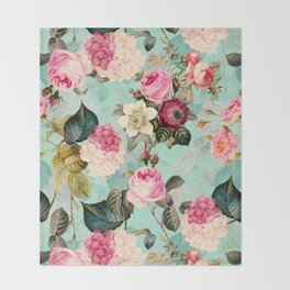 Vintage & Shabby Chic - Summer Teal Roses Flower Garden Throw Blanket