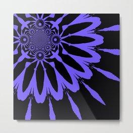 The Modern Flower Black & Periwinkle Metal Print