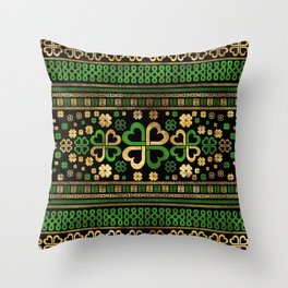 Lucky Shamrock Four-leaf Clover Green and Gold Throw Pillow