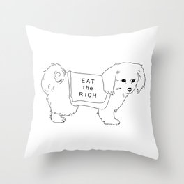 """Dog Says """"Eat the Rich"""" Throw Pillow"""