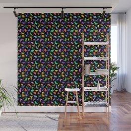 Fun Dinosaur Pattern (Black) Wall Mural