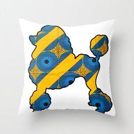 Striped Poodle Throw Pillow