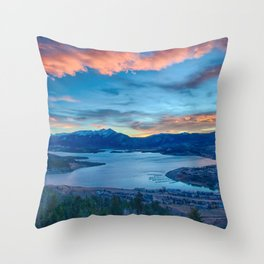 Lakeside Sunset // Mile High Rocky Mountain Orange and Blue Sky Throw Pillow