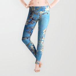 Vincent Van Gogh Almond Blossoms. Sky Blue Leggings