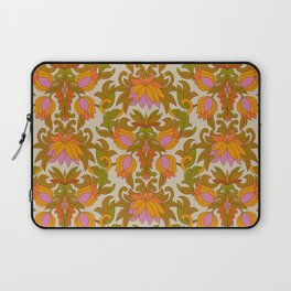 Orange, Pink Flowers and Green Leaves 1960s Retro Vintage Pattern Laptop Sleeve