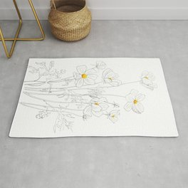 white cosmos flowers  ink and watercolor Rug