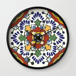 Talavera Mexican tile inspired bold design in blue, green, red, orange Wall Clock