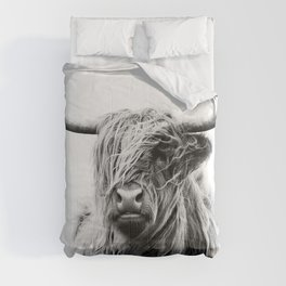 Black & White Highland Scotland Cow  Comforters