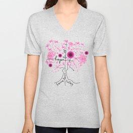Breast Cancer Awareness Pin Ribbon Tree Unisex V-Neck