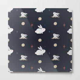 Bunnies on the Moon (Patterns Please) Metal Print