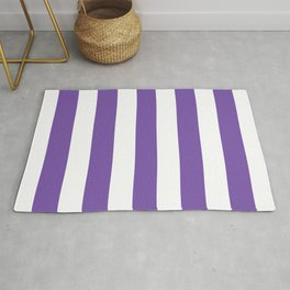 Royal purple - solid color - white stripes pattern Rug