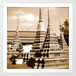 Wat Po temple in Thailand (Bangkok & Travel) - Thai Massage School (square) Art Print