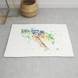 Sea Turtle Colorful Watercolor Painting Rug
