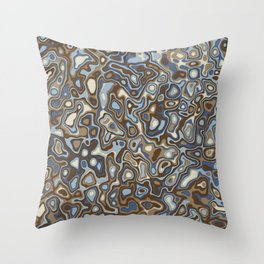 Paper Cut Craters - Slate, Denim Blue, Brown, Ivory Throw Pillow
