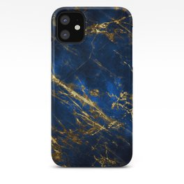 Exquisite Blue Marble With Luxury Gold Veins iPhone Case