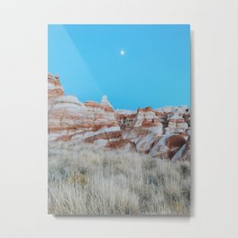 Moon Over Marbled Rock Formation Metal Print