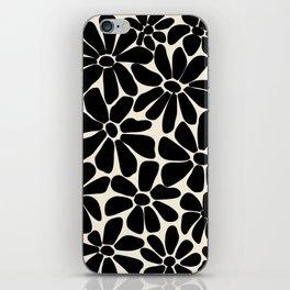 Black and White Retro Floral Art Print  iPhone Skin