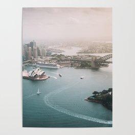 Sydney Opera House Harbour Bridge | Australia Aerial Travel Photography Poster