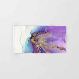 Blooming Gold In Violet Iris - Abstract Ink Painting Hand & Bath Towel