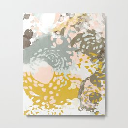 Hutton - Modern abstract painting for home decor and cell phone cases in gold grey mint white Metal Print