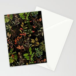 Vintage & Shabby Chic - vintage botanical wildflowers and berries on black Stationery Cards