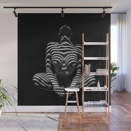 1152-MAK Abstract Nude Black & White Zebra Striped Woman Topographic Feminine Body Wall Mural