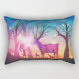 Girl meeting magical forest animals Rectangular Pillow