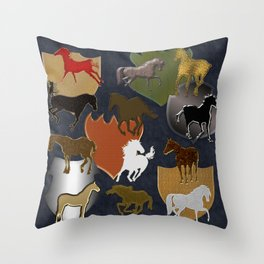 Horsing Around with Heraldry Throw Pillow
