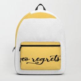 No regrets typographic print, self motivating caption Backpack