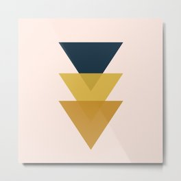 Triangle Trio Minimalist Geometric in Mustard Yellow Navy Blue Blush Pink Metal Print