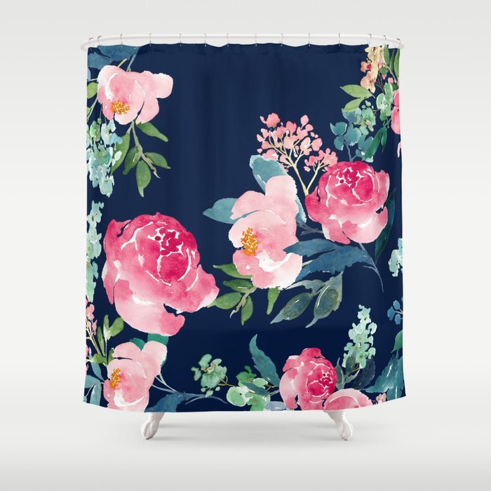 Navy and Pink Watercolor Peony Shower Curtain