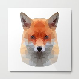Polygon Fox | Abstract Triangle Artwork Metal Print