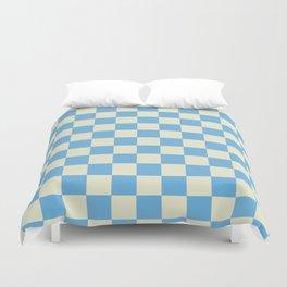 blue chess - blue and white Duvet Cover