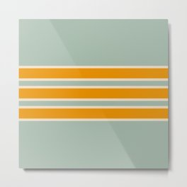 70s Style Mint Orange White Retro Stripes Pomona Metal Print