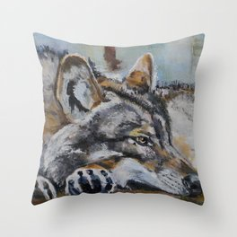 White wolf, oilpainting Throw Pillow